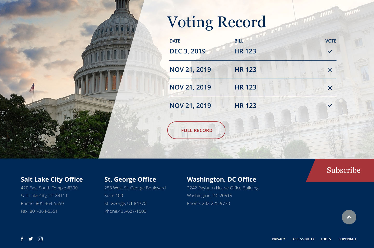 Rep. Chris Stewart<small>Voting Record</small>